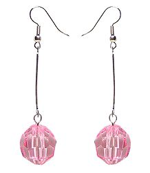 Metal Dangle Earrings with a Pink Acrylic Bead
