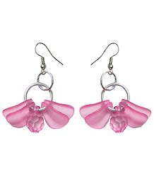 Acrylic Pink Butterfly Earrings