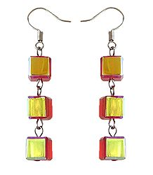 Yellow with Red Acrylic Earrings