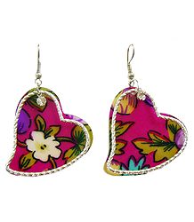 Pair of Colorful Acrylic Heart Earrings
