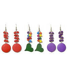 Set of 3 Pairs Colorful Acrylic Dangle Earrings