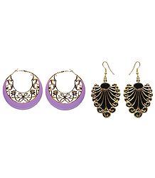 Acrylic Leaf & Hoop Earrings