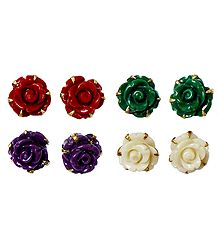 Set of 4 Pairs Red, Green, Purple and Ivory Color Rose Earrings