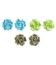 Set of 3 Pairs Blue, Green and Brown Rose Tops