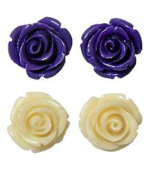 Set of 2 Pairs Purple and Ivory Color Acrylic Rose Earrings