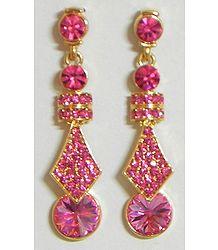 Magenta Stone Studded Dangle Earrings