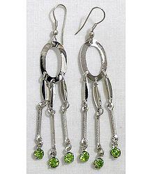 Stone Studded Metal Cascade Earrings