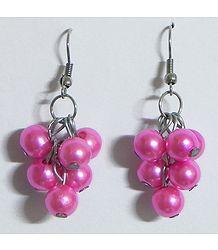 Pink Bead Grape Earrings