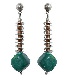 Green Stone Bead Earrings