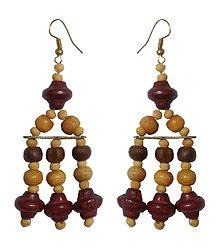Wooden Bead Jhalar Earrings