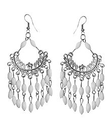 White Beaded Jhalar Earrings
