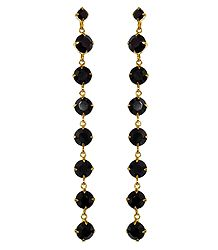 Faux Black Onyx Studded Drop Earrings