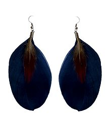 Dark Blue Feather Earrings