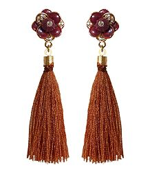 Brown Silk Thread Earrings