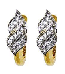 White Stone Studded Clip Earrings