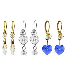 Set of 3 Pairs Crystal Bead Dangle Earrings