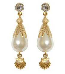 White Stone Studded Metal Drop Earrings