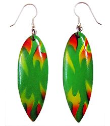 Saffron and Yellow Print on Green Acrylic Earrings