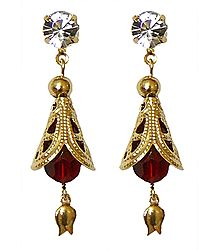 Pair of Dangle Earrings with Red Bead
