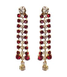 Maroon and White Stone Studded Earrings