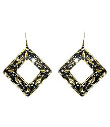 Black with Golden Metal Earrings