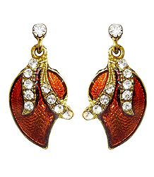Lacquered Metal Stone Studded Leaf Earrings