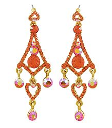 Flaming Red Stone Studded Dangle Earrings