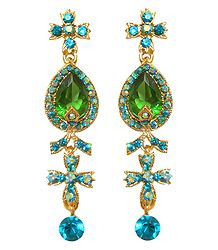 Dark Green and Cyan Stone Studded Dangle Metal Earrings