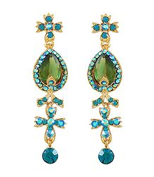 Light Green with Cyan Stone Studded Dangle Metal Earrings