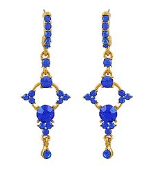 Dark Blue Stone Studded Dangle Metal Earrings