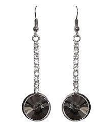 Grey with White Stone Studded Dangle Metal Earrings