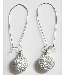 White Stone Studded Dangle Earrings