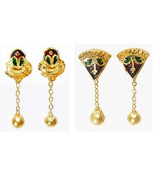 Set of 2 Pairs Gold Plated Earrings