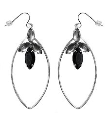 Silver Color with Black Stone Dangle Earrings