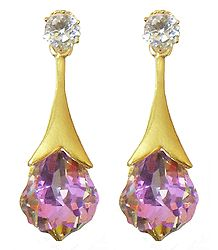 Pair of Drop Earrings with White and Pink Stone