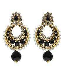 Hoop Earrings Studded with Black and White Stone and White Beads
