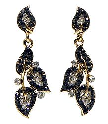 Leaf Earrings Studded with Black and White Stones
