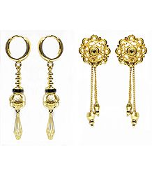 Gold Plated Metal Earrings
