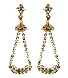 Buy White Stone Studded Dangle Earrings