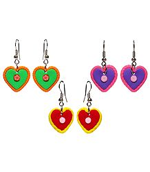 Set of 3 Pairs Rubber Heart Earrings