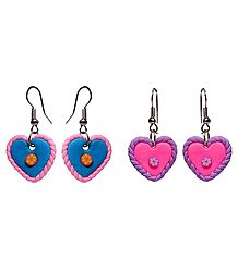 Set of 2 Pairs Rubber Heart Earrings