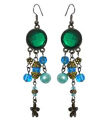 Green Stone with Bead Dangle Earrings