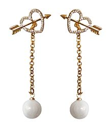 Stone Studded Heart Dangle Earrings