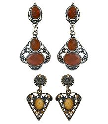 2 Pairs Stone Studded Oxidised Metal Dangle Earrings
