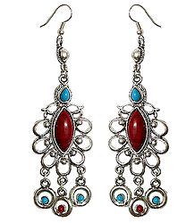 Metal Dangle Earrings with Blue and Red Stone