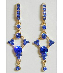Dark Blue Stone Studded Dangle Earrings