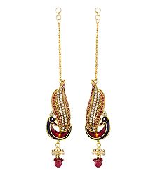 Red and White Stone Studded Peacock Earrings with Chain to Hold Earrings