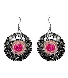 Pink Beaded Oxidised Metal Disc Earrings