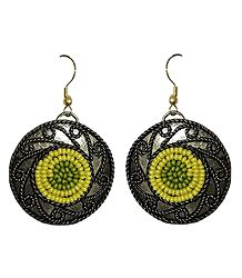 Yellow and Green Beaded Oxidised Metal Disc Earrings