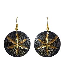 Metal Carved Disc Earrings